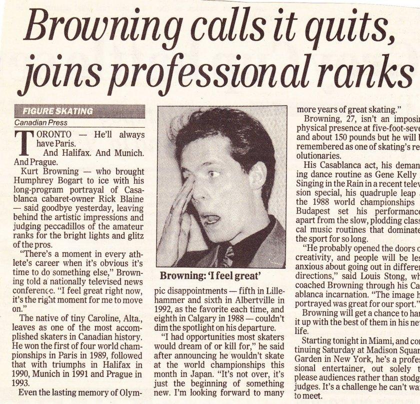 Kurt Browning retires, 1994