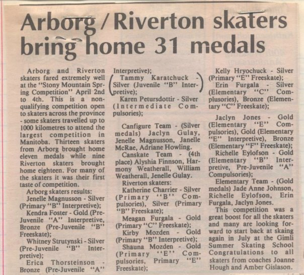 Clipping from Interlake Spectator, 1993