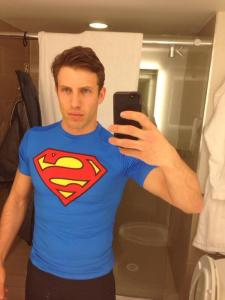 Dylan Moscovitch in his Superman t-shirt. I would trust him to carry me down this ice.