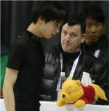 Hanya Yuzuru's Pooh Bear tissue box. The tissue box has its own Twitter handle: @HanyusPooh.