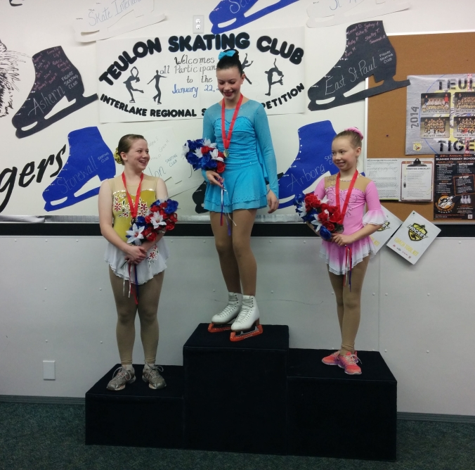 The medallists in STAR 4 share a laugh. Left to right, Alyssa Loewen (Selkirk SC); Casey Park (Stony Mountain SC); and Kaylea Gross (Stonewall SC) Photo Credit: Jennifer Simmons)