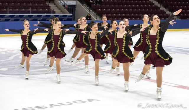 Rogowsky (first row, second from the left) join the University of Manitoba's Synchronized Skating Team Ice Intrepid last fall. In January, the team performed at Winterfest in Mississauga, Ontario. (Photo Credit: Sean McKinnon)
